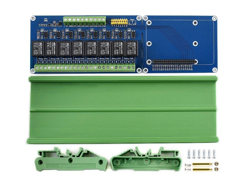 Плата расширения WaveshareRaspberry Pi, 8-канальный релейный канал, для Raspberry Pi A +/B +/2B/3B/3B +, встроенный светодиодный, Контактная форма: SPDT-NO, NC