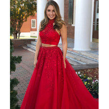 2019 New Red Long Prom Dresses High Neck Backless Pearls Lace Tulle 2 Piece Prom Party