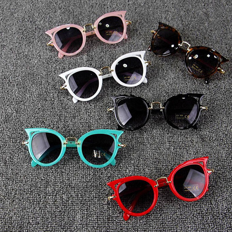 Kids Stylish Cat Eye Sunglasses Shades Eyewear Glasses Outdoor Students Holiday Children Girls Party Travel(China)