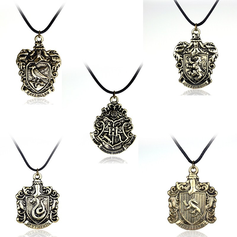 5 Style School of Magic Badge Series Necklace Movie Hogwart Charms Pendant Gifts For Fans Men and Women Jewelry