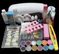 Pro Nail Art UV Gel Kits Tools Pink UV lamp Brush Tips Glue Acrylic Powder Set BTT-89  Free shipping