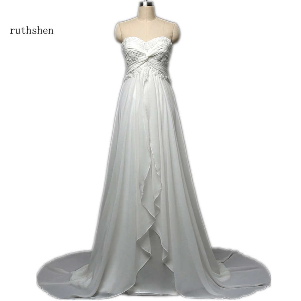 ruthshen 2018 Beach Maternity Wedding Dresses Cheap With Lace Appliques Beaded Pleats Chiffon Vestidos Baratos Robe Mariage