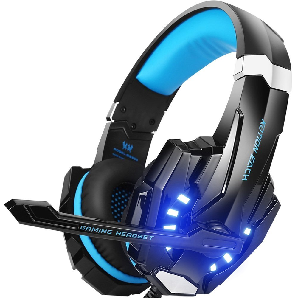 Stereo Gaming Headset PS4 PC Xbox Controller Noise Cancelling Over Ear Headphones Mic LED Light Bass Surround Soft Memory Laptop oneodio stereo gaming headset for phone pc computer headphones with mic over ear noise cancelling for pc ps4 xbox mobile