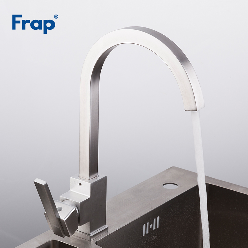 Image 4 - FRAP kitchen faucet Space Aluminum Hot and Cold Water mixer Tap 360 Degree Rotation Deck Mounted Crane YF40010/11/F4052/52 5-in Kitchen Faucets from Home Improvement