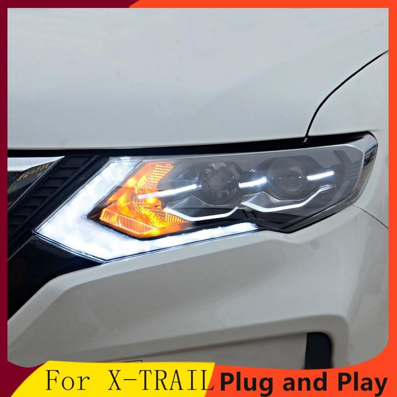 KOWELL style de voiture pour Nissan x-trail phares 2014-2016 pour x-trail phare LED DRL lentille Double faisceau H7 HID xénon bi xénon