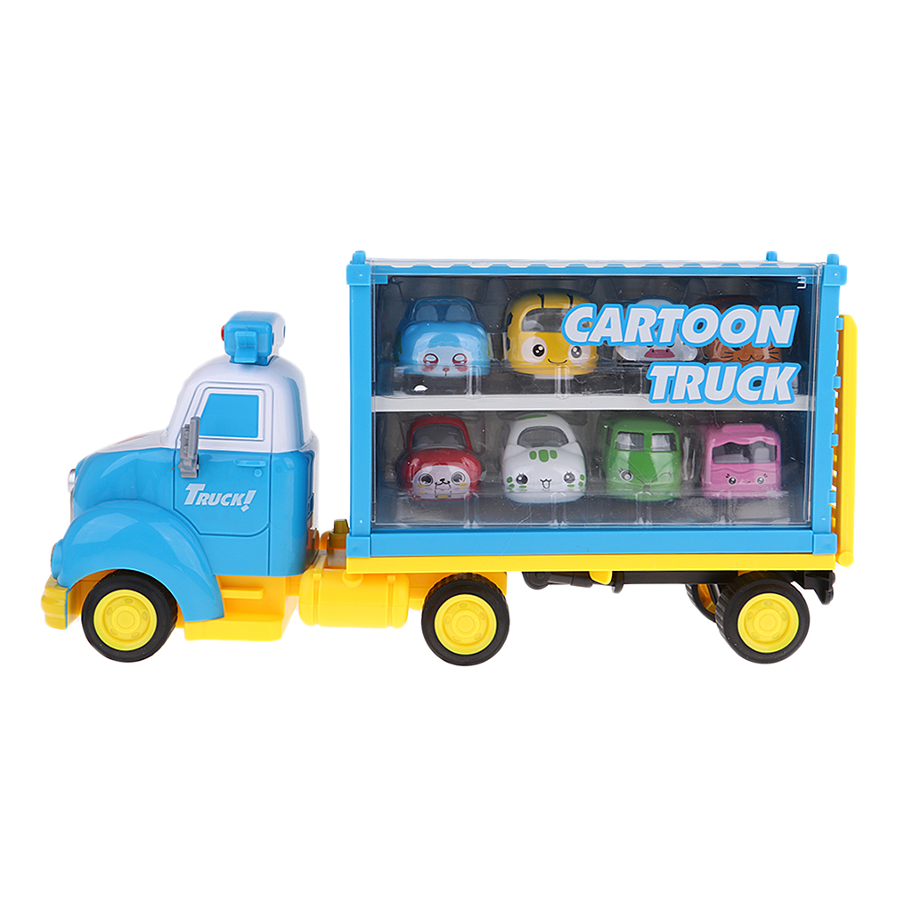 Cartoon Sound and Light Truck with 8 Diecast Cars Toy Gift for Kids Children все цены