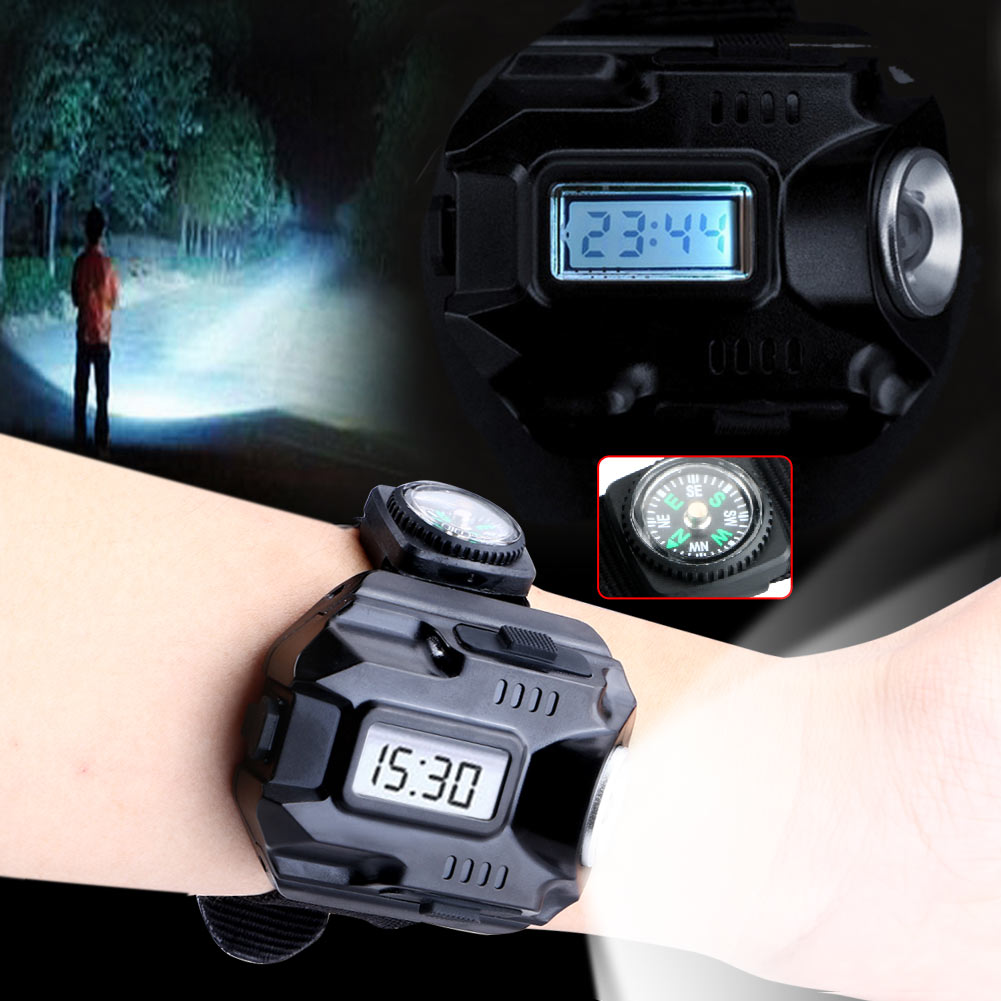 Powerful Led Flashlight Tactical LED Display Rechargeable Wrist Watch Flashlight Waterproof Torch With Mini-copass