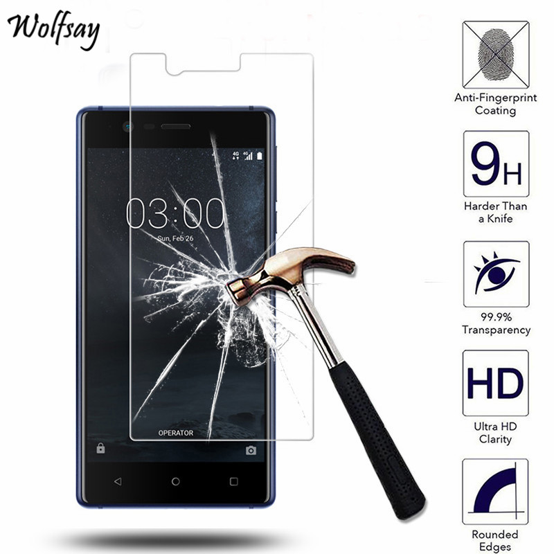 2pcs Screen Protector For Glass Nokia 3 Tempered Glass SFor Nokia 3 TA-1020 TA-1032 Protective Film For Nokia 3 Glass Wolfsay