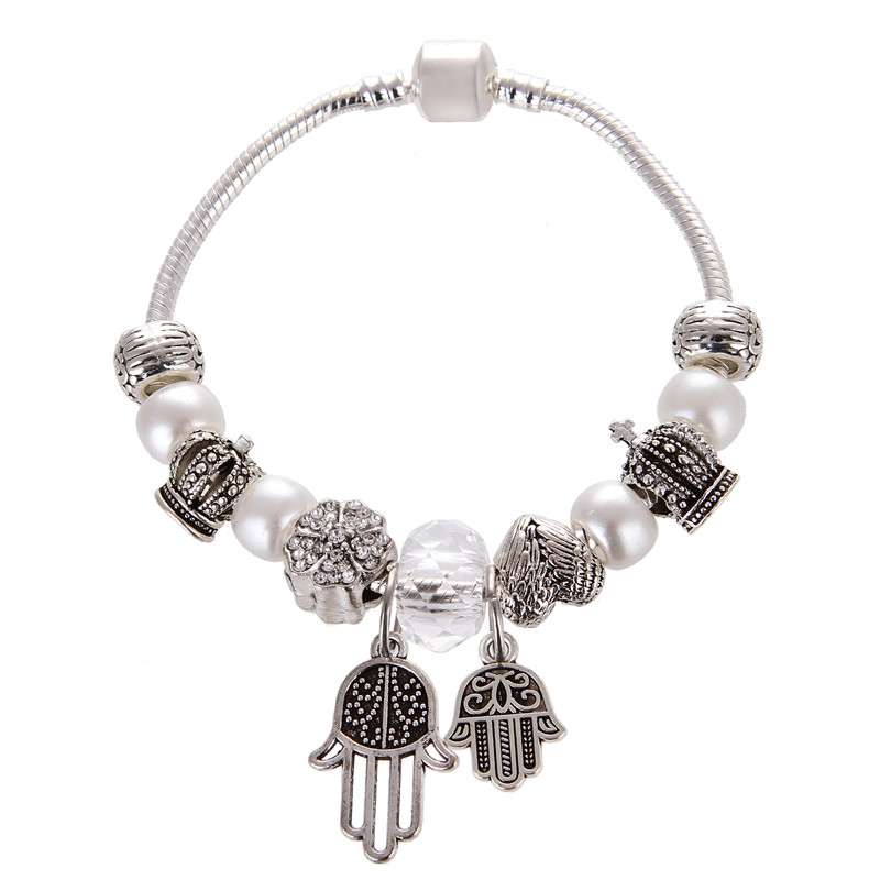 European Vintage Silver plated white Imitation pearls/crystal Palm Pendant Charms Pandora Bracelet For Women/Gril gift jewelry