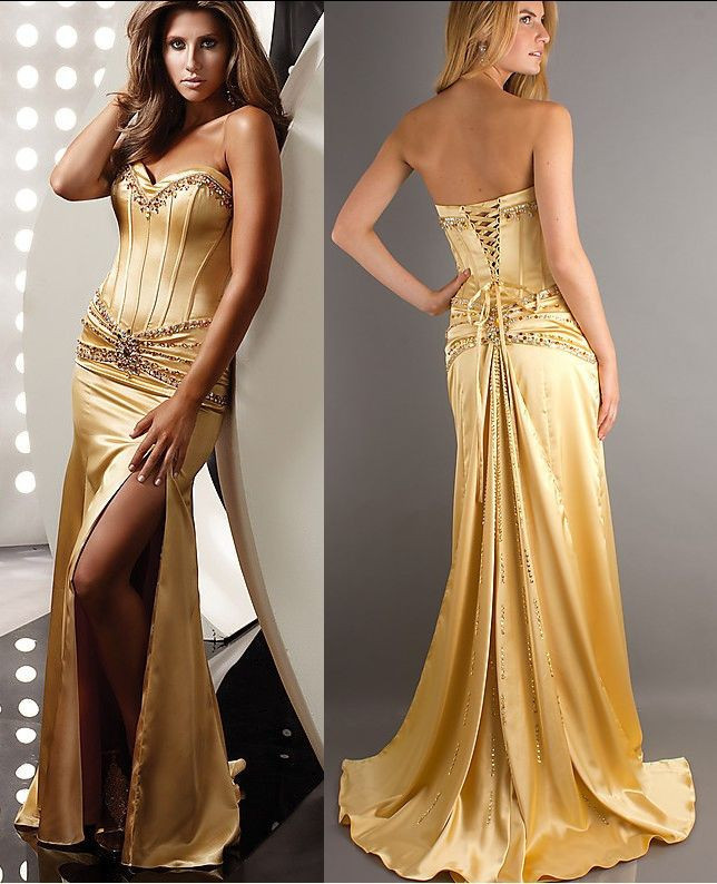 2018 Gold Prom Bridesmaid Dresses Satin Beaded Sweetheart Split ...