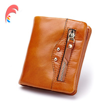 Vintage Oil Wax Genuine Leather Wallet Women Luxury Brand Coin Purse Card Holder Small Mini Travel Wallet Female Wallets Purses