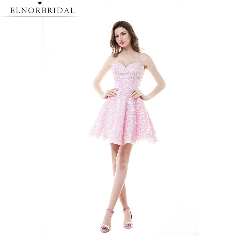 Blush Pink Prom Dresses Short 2017 Modest Vestido Formatura Sexy Birthday Party Dress Girls Homecoming Party Gowns