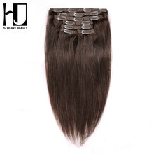 7A HJ WEAVE BEAUTY Clip In Hair Extensions Straight 100% Human Hair Color #1#2#4#613 Remy Hair 7PCS/Set 100G/set(China)