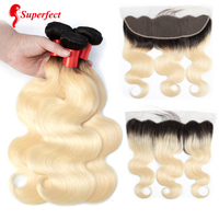Superfect 1b/613 Blonde Bundles With Closure Ombre Bundles With Closure Brazilian Body Wave Bundles With Frontal Non Remy