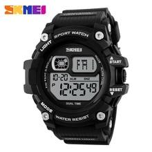 SKMEI 1229 Men Digital Sport Watch LED Display Big Dial Resin Glass Alarm Clock Chronograph 12/24 Hour Wristwatches