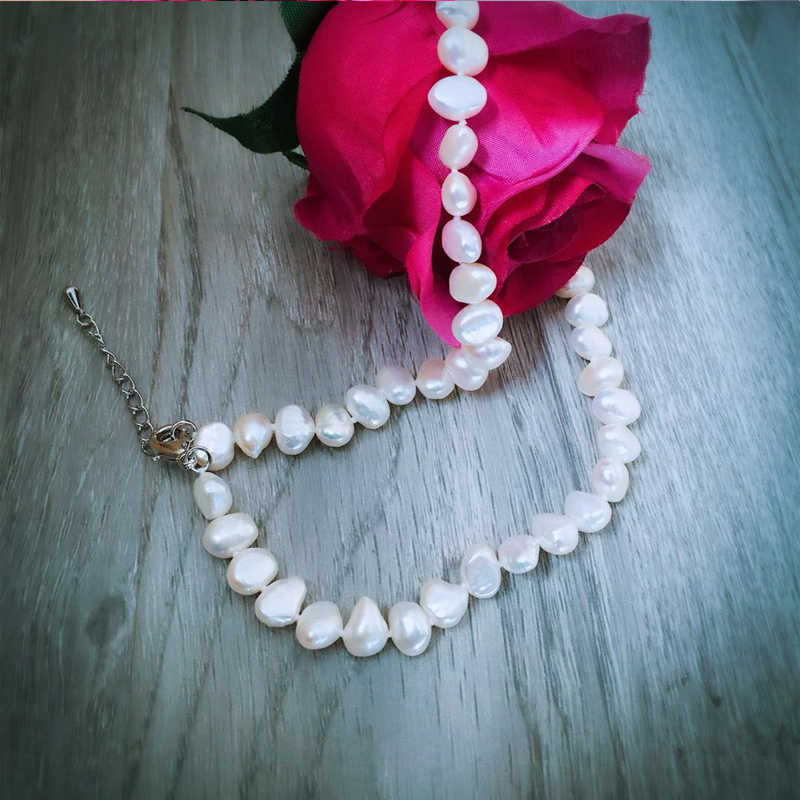 DMNFP298 8-9mm Perle Halskette Barocke Perle Schmuck Süßwasser Perle Halsband Halskette Frauen