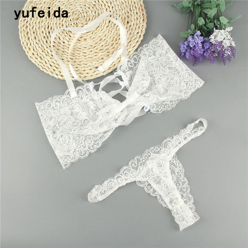 YUFEIDA Sexy Bride White Lingerie Women Wrapped Chest Lace Underwear for Females Transparent Exotic Apparel Bikini Set Intimate