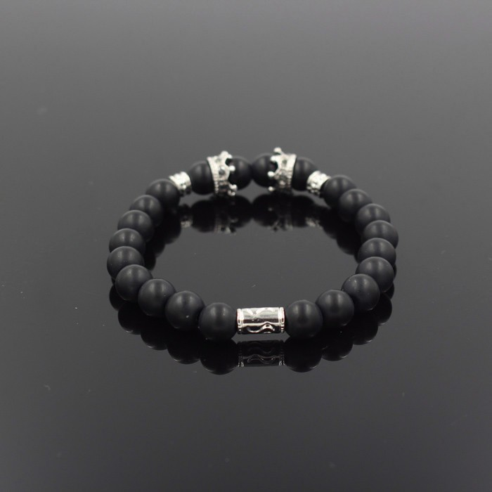 silver-imperial-crown-with-natural-stone-black-bracelet-2