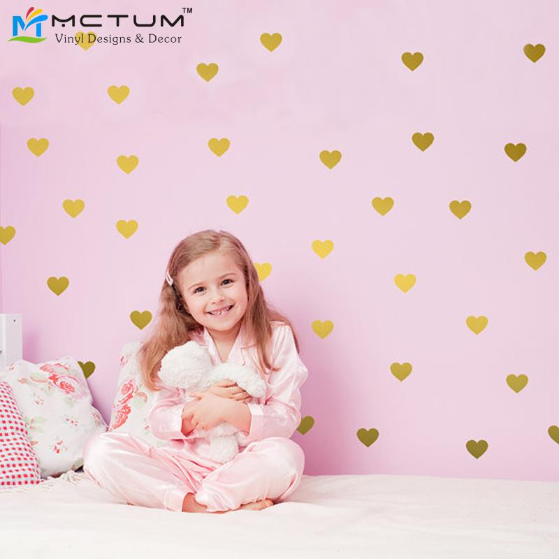36 hearts/set Hearts Wall Sticker Gold Nursery Wall Decals DIY Removable Wall Art for Party Birthday Kids Room Home Decoration