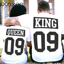 Large Size Cotton Tee King Queen 09 Letter Tshirt Couple Short Sleeve Tops Women's T-shirts Men White T Shirt Lovers Summer Tops цена