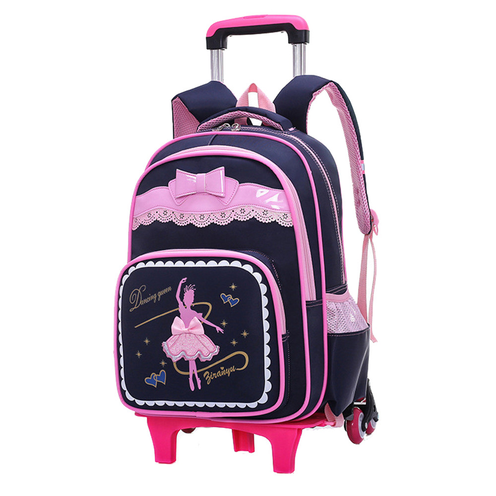 2 6 Wheels Children School Bags for Girls Trolley Backpack carton pattern rolling luggage kids detachable