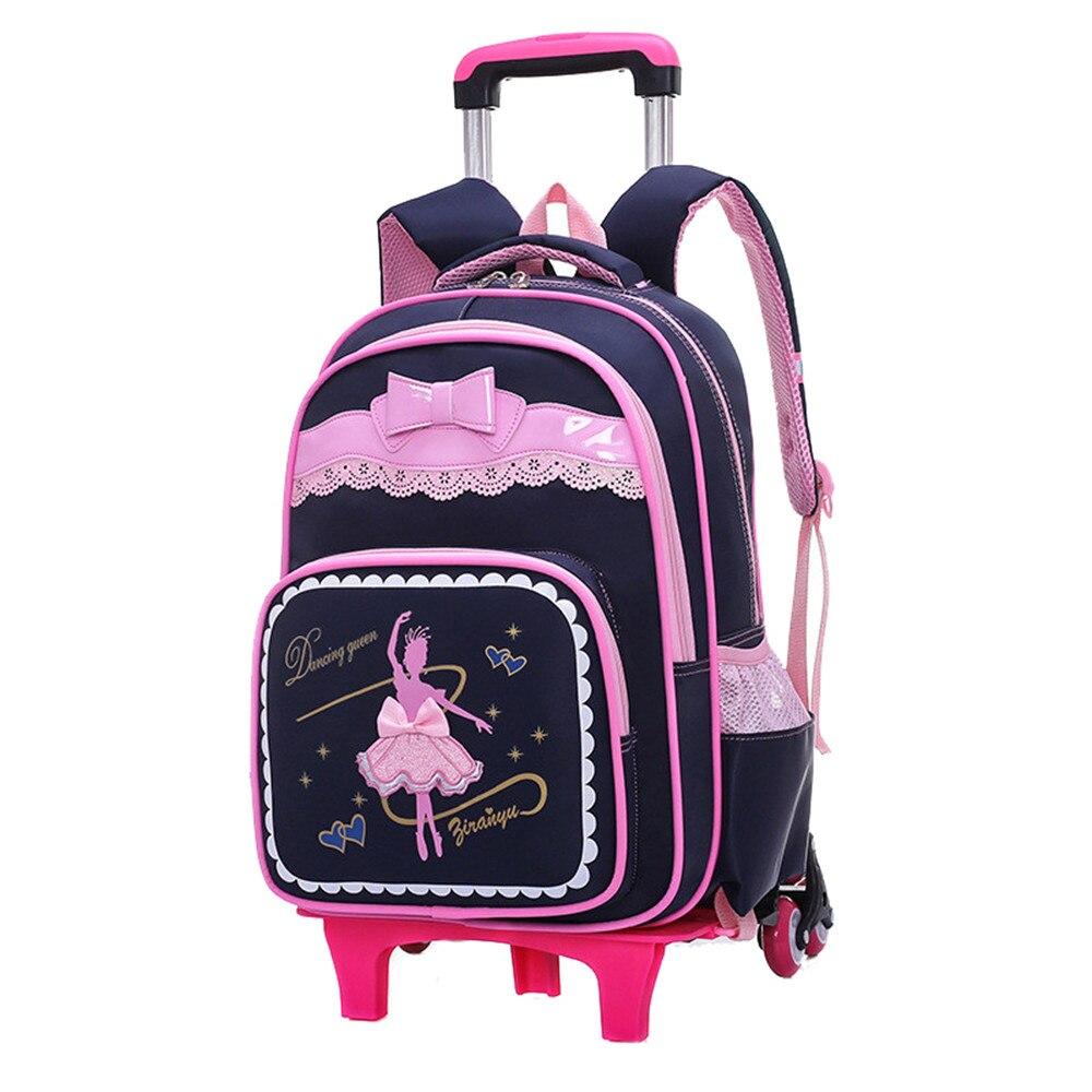 2/6 räder Kinder Schule Taschen für Mädchen Trolley Rucksack karton muster roll gepäck kinder abnehmbare und orthopädische tasche-in Schultaschen aus Gepäck & Taschen bei  Gruppe 1
