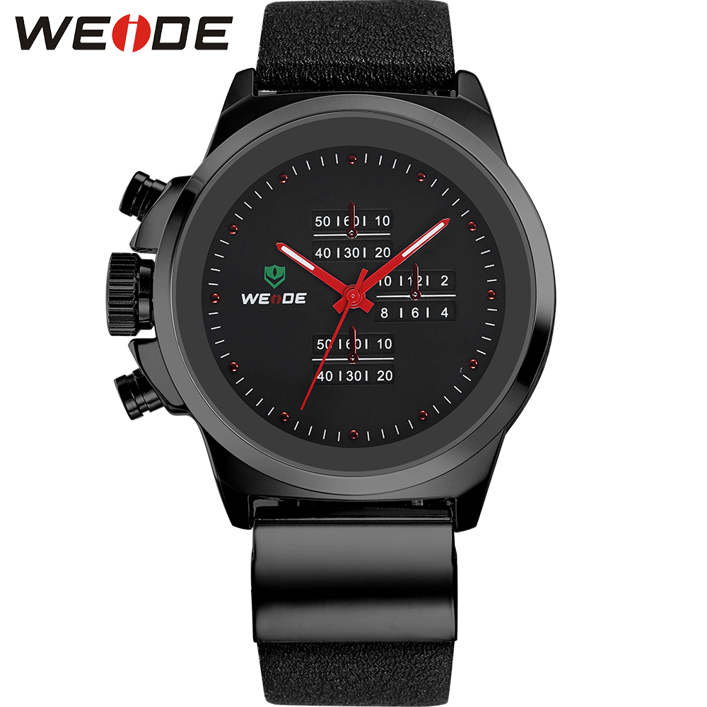 WEIDE Top Brand Japan Movt Men Sports Quartz Watch Stainless Steel Back 3ATM Water Resistant Real Leather Wristwatch new brand movt 00805516