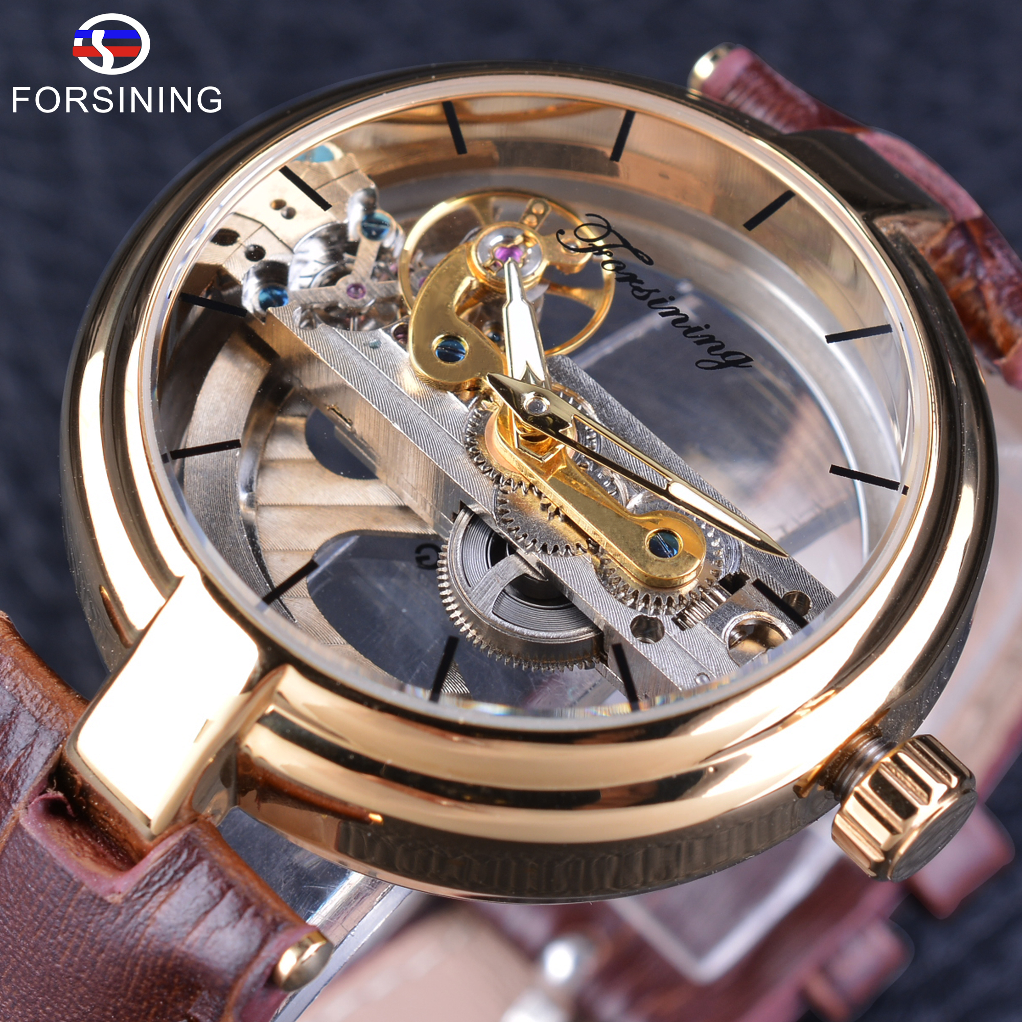 Forsining Men's Mechanical Wristwatch Brown Genuine Leather Strap Automatic Self-wind Sport Watch Steampunk Waterproof Design forsining latest design men s tourbillon automatic self wind black genuine leather strap classic wristwatch fs057m3g4 gift box