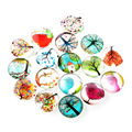 Tree of Life Printed Half Round/Dome Glass Cabochons, Mixed Color, 10x4mm
