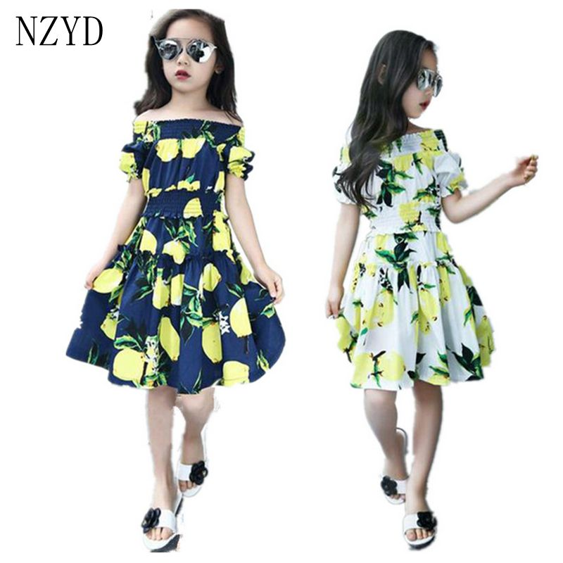 Girls Summer Fashion Dress Printing Shoulder-Length Kids Clothing 2017 New Casual Pretty 2 to 12 Years old Girl Dress DC291
