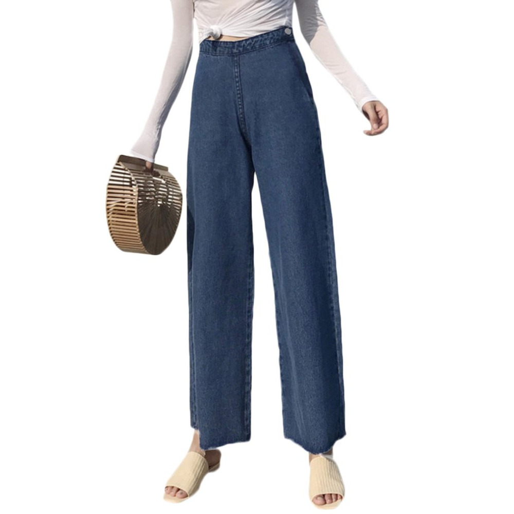 Women Wide Leg Jeans Korean Vintage Side Zipper High Waist Denim Pants Girl  Straight Trousers Ankle Length Pant All Season jean plus size side stripe wide leg blue capris jeans 4xl 7xl oversized tassel irregular fringe ankle length denim pants