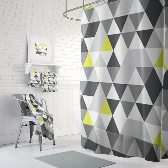 PEVA Eco Friendly Geometric Patterns Shower Curtain Waterproof