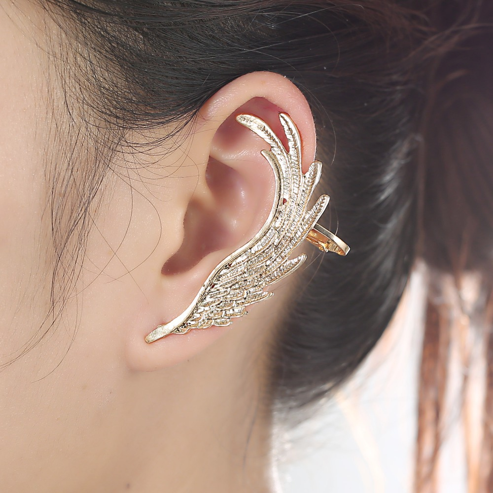 Hot Fashion Single Ear Cuff Earrings 1package Angel Wings Feather Gold Clips For Women Punk Jewelry Gift In Clip From