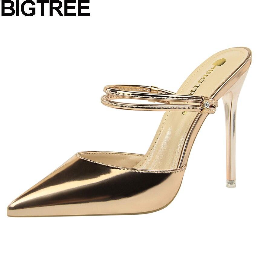 dcd7e5f5f9 BIGTREE 3 Way Wear Women Metallic High Heel Pointy Toe Mule Slides Stiletto  Slingback Pumps Dress Glossy Leather Shoes Champange