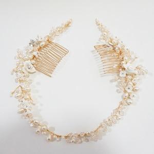 Image 5 - Delicate Süßwasser Perlen Braut Kopfstück Strass Kristall Haar Reben Crown Hochzeit Doppel Haar Kamm Bräute Haar Zubehör
