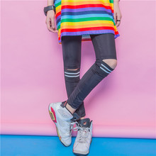 Fashion personality solid color all-match patchwork thread knee cutout legging slim female street