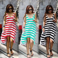 Wholesale and Retail Women Summer Dresses Girl Casual Stripe Irregular Beach Dress Sleeveless Sexy Sundress
