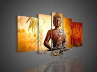 Hand painted oil painting Buddha statue Bamboo leaves Orange on canvas modern home decor wall art picture for living room