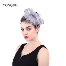 51378aa33ea69 Top Quality Bridal Philippines Sinamay Grey Paty Hat Fascinator Wedding  With Feathers For Kentucky Derby Church