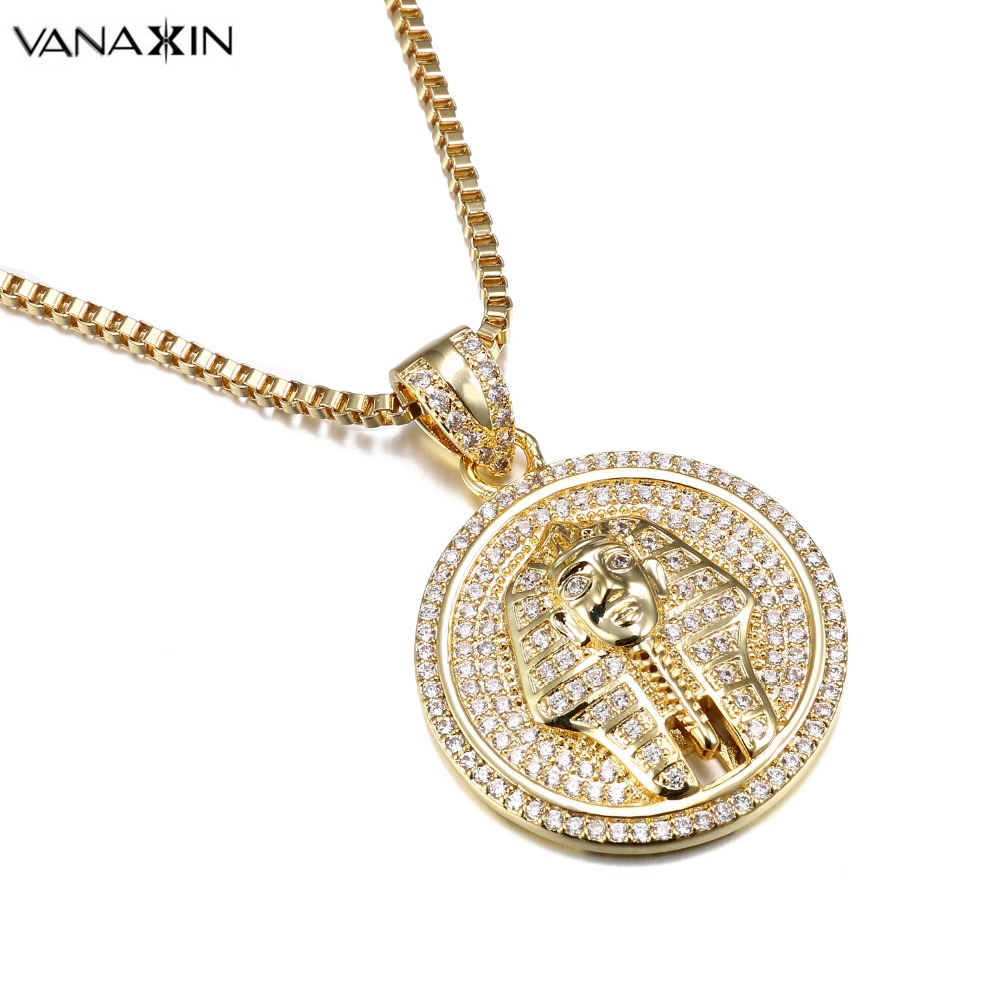 VANAXIN Punk Egyptian Pharaoh Head Pendant Men Necklace Fashion Gold Color AAA Zircons Iced Out Micro Pave Stone Jewelry Gift vanaxin cz crystal 100 pendant necklace for men punk hiphop jewelry cz gold color unisex necklace fashion women accessories gift