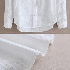 Image 5 - Foxmertor % 100% Pamuklu Gömlek Beyaz Bluz 2018 Ilkbahar Sonbahar Bluz Gömlek Kadınlar Uzun Kollu Casual Tops Katı Cep Blusas #06