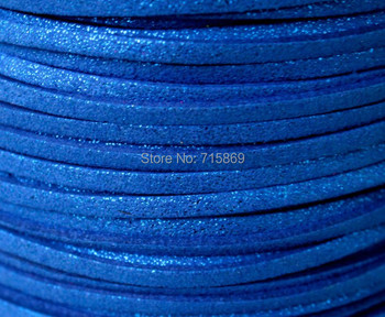 Free Ship  100 Meters 10mm x 1.5mm Metallic Royal Blue Flat Faux Suede Leather Cord For Necklace and Bracelet