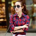 New Brand Blouse Women's Shirts Fashion 2016 Women Casual Shirt Plaid Blouses Full Sleeve For Woman Turn Down Collar Tops 8866-1
