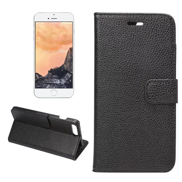 For Apple iPhone 7 Plus Old School Litchi Rind Pebbled Leather Wallet Card Flip Book Case For iPhone7Plus Business Folding Cover