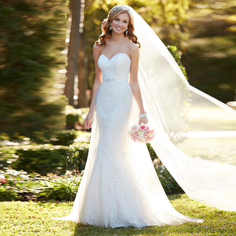 Eightale Boho Wedding Dresses 2019 Sweetheart White Ivory Appliques Lace Vintage Romatic Tulle Sashes Beach Bridal
