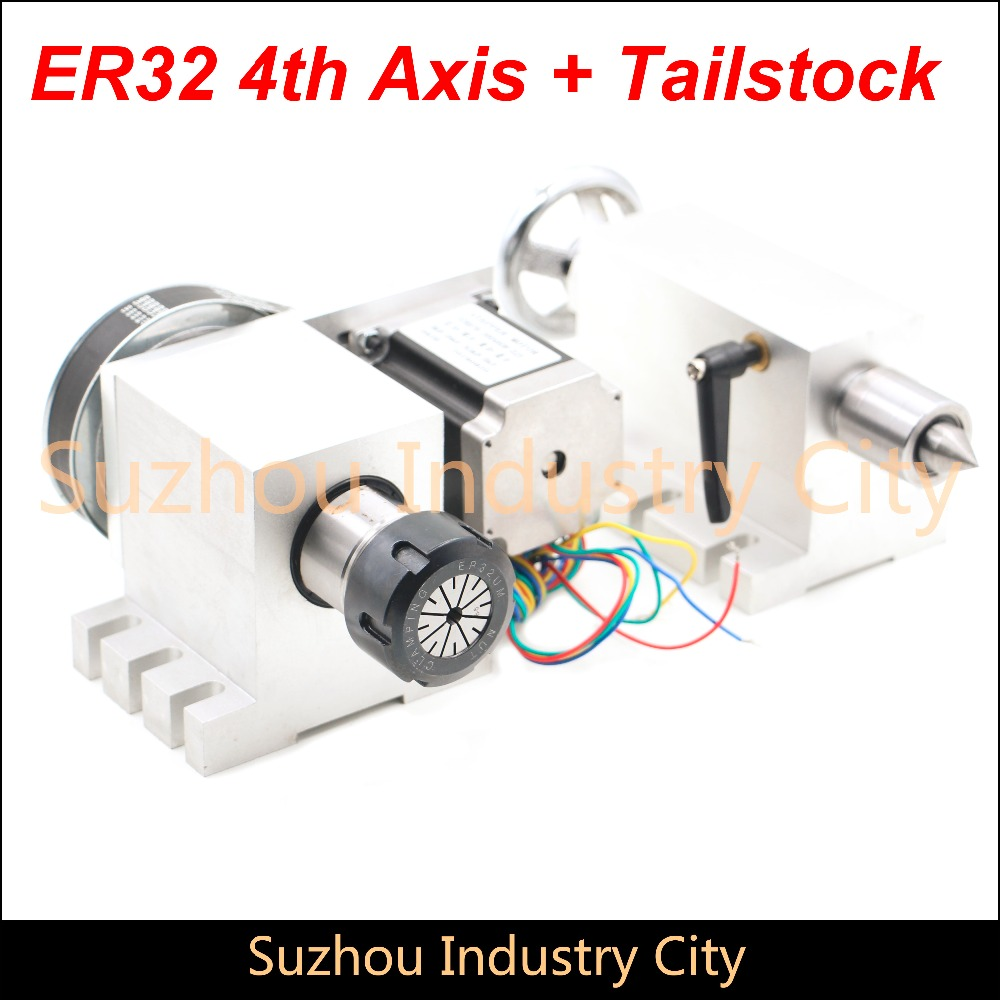 ER32 Chunk CNC 4th Axis+Tailstock CNC dividing head/Rotation Axis/A axis kit for Mini CNC router/engraver woodworking engraving cnc 5axis a aixs rotary axis t chuck type for cnc router cnc milling machine best quality