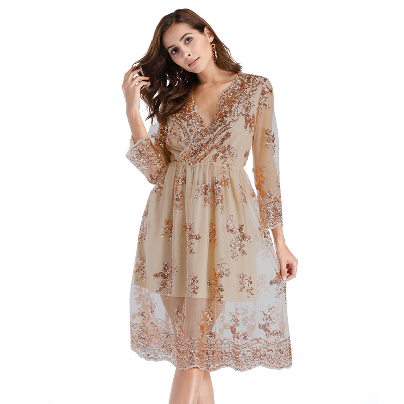 10pcs/lot 2018 AliExpress Hot sale Fashion dress Europe and America women's sequined deep V-neck sexy dress elastic waist dress
