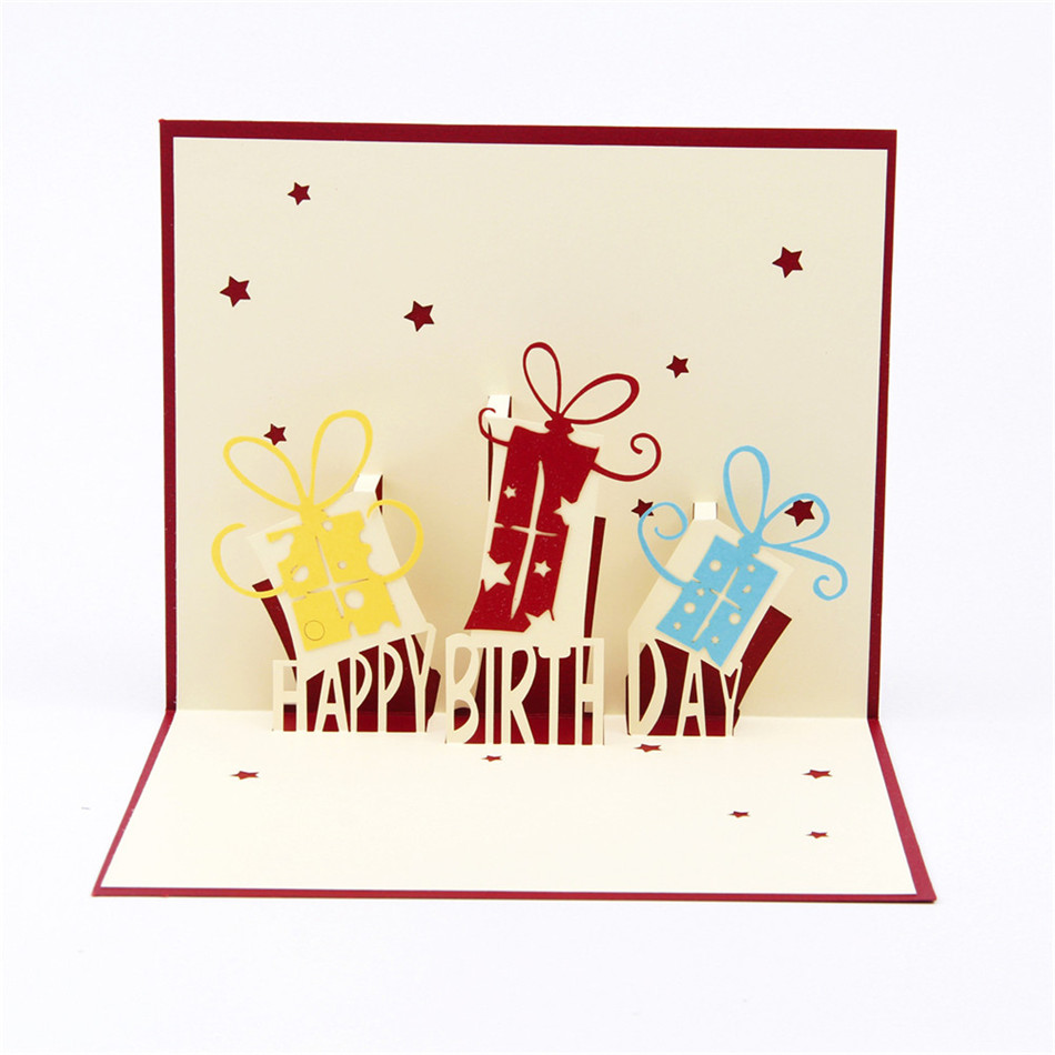 Giftboxes happy birthday handmade creative 3d pop up birthday giftboxes happy birthday handmade creative 3d pop up birthday greeting gift cards with star cutout free shipping set of 10 on aliexpress alibaba kristyandbryce Images