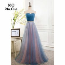 2018 New Prom Dresses Long Beaded Crystals Belt Vestido Longo Sweetheart  vestido de festa Formal Evening Party Dress 100% Real 40395e7b427e