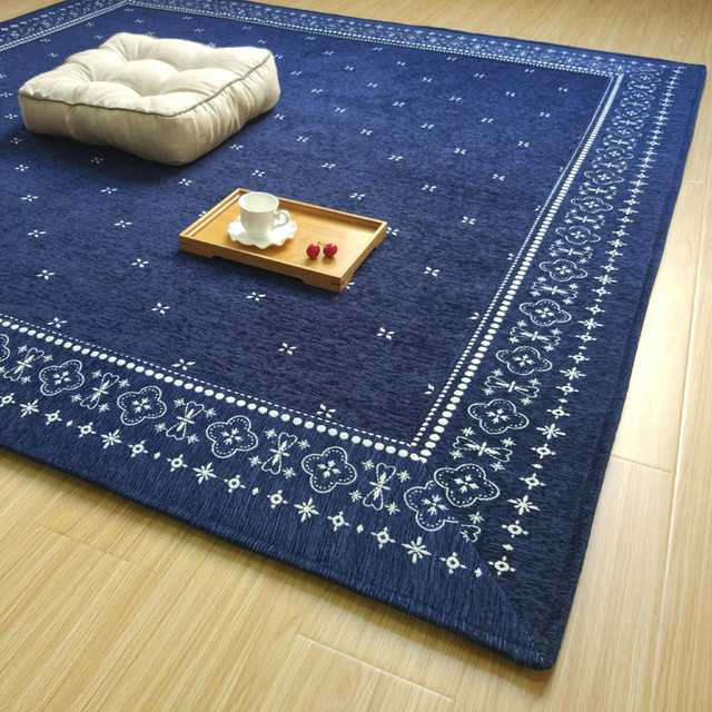 Navy Blue Square Little Flowers Past Simple Tatami Mat Chenille Comfortable Ground Yoga